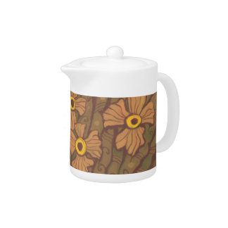 Yellow-eyed flowers, floral art,olive green brown