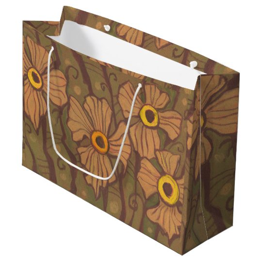 Yellow-eyed flowers, floral art,olive green brown large gift bag