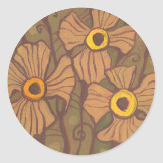Yellow-eyed flowers, floral art,olive green brown round sticker