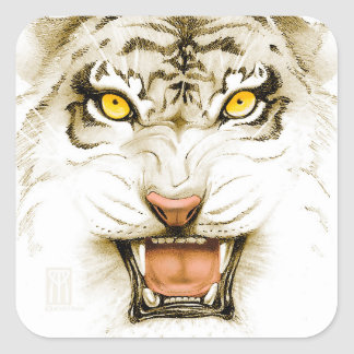 Yellow Eyed Sepia Tiger Square Sticker