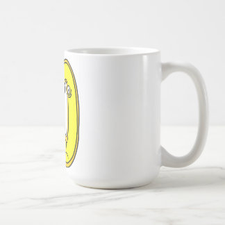 yellow face 50, it only a number coffee mug