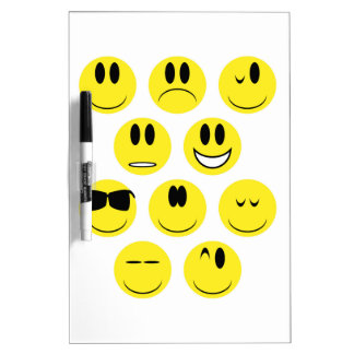 Yellow Face Icons Dry Erase Board