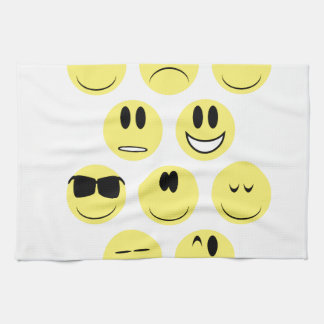 Yellow Face Icons Hand Towel
