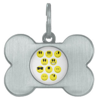 Yellow Face Icons Pet ID Tag