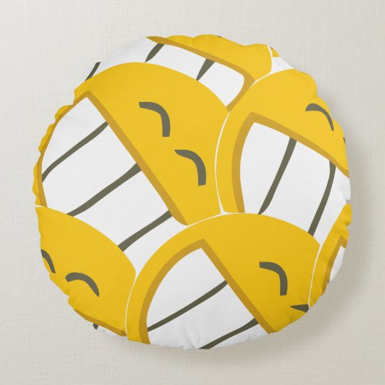 Yellow Family Round Pillow