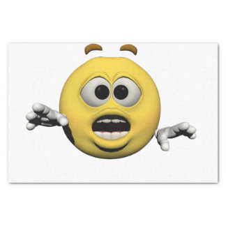 Yellow fear emoticon or smiley tissue paper