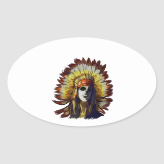 Yellow Feather Oval Sticker