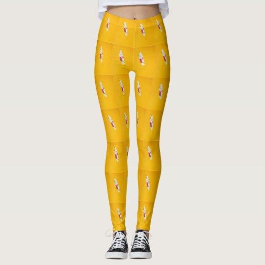Yellow Feather Patterned Leggings