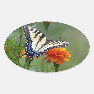 Yellow female Eastern Tiger Swallowtail Oval Sticker