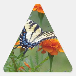 Yellow female Eastern Tiger Swallowtail Triangle Sticker