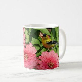 Yellow Finch and Flowers - Coffee Mug