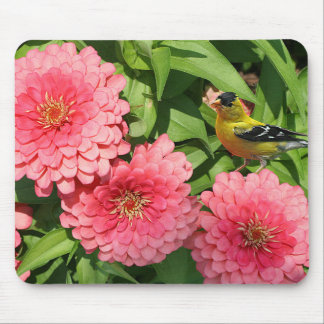 Yellow Finch and Flowers - Mouse Pad
