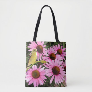 Yellow Finch and Pink Cone Flowers - Tote Bag