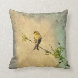 Yellow Finch Bird on Tree Branch Vintage Style Throw Pillow