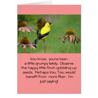 YELLOW FINCH ON CONEFLOWER/HUMOR/FRIENDSHIP CARD