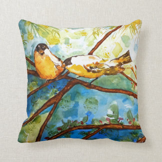 Yellow Finches Watercolor Art Design Pillow 16x16