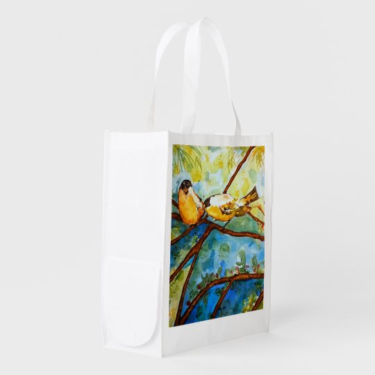Yellow Finches Watercolor Art Reusable Market Tote