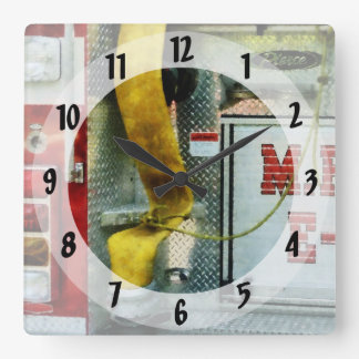 Yellow Fire Hose Square Wall Clock
