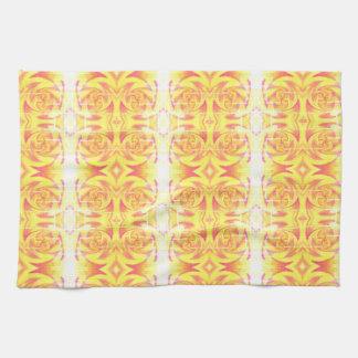yellow fire tea towel