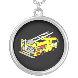Yellow Fire Truck Silver Plated Necklace