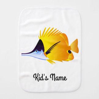 Yellow fish burp cloth