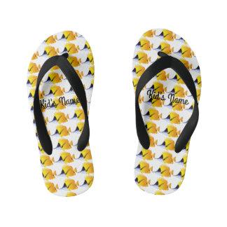 Yellow fish kid's flip flops