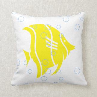 Yellow fish  on  white  PILLOW