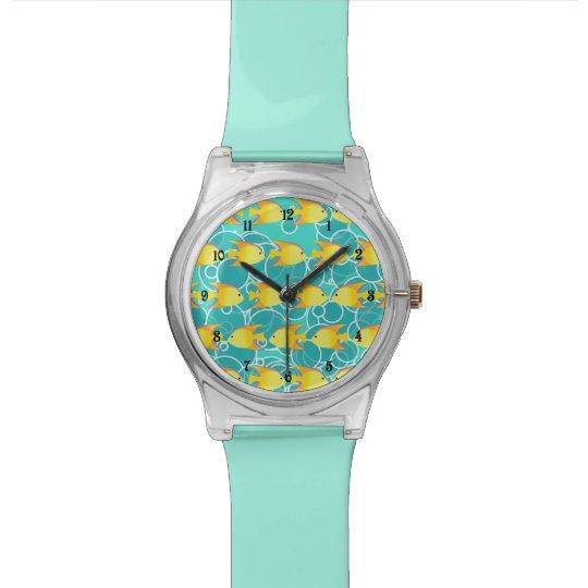 Yellow fish pattern wristwatch