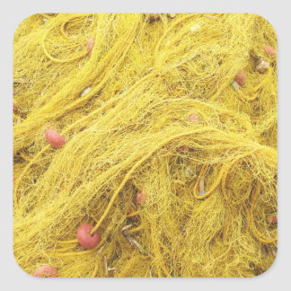 Yellow Fishing Nets (Greece) Square Sticker