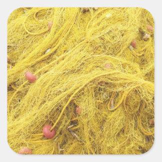 Yellow Fishing Nets (Greece) Square Sticker