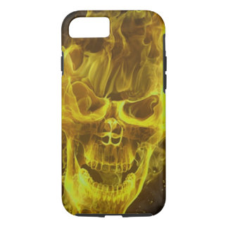 yellow flame skull head iPhone 7 case
