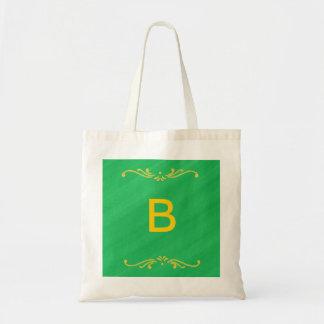 Yellow Fleur De Lis Border Green Monogram Bags