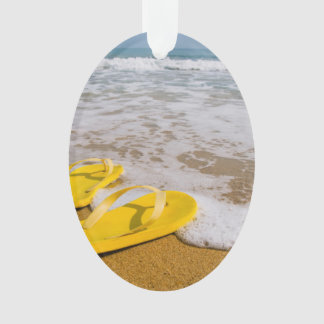 Yellow Flip Flops on the beach Ornament