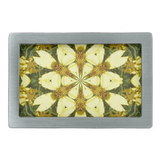 yellow floral abstract design daisies belt buckles