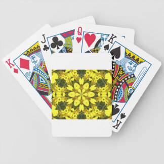 yellow floral abstract design daisies bicycle playing cards