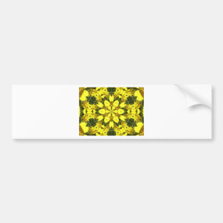 yellow floral abstract design daisies bumper sticker