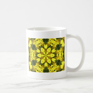 yellow floral abstract design daisies coffee mug