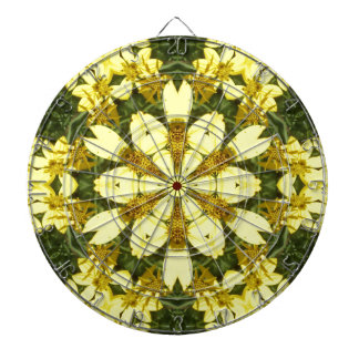 yellow floral abstract design daisies dartboard