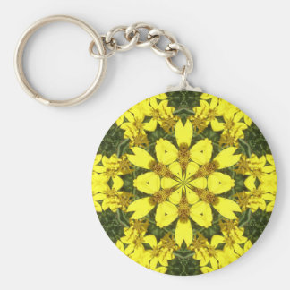 yellow floral abstract design daisies keychain
