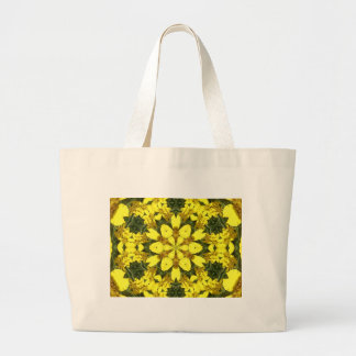 yellow floral abstract design daisies large tote bag