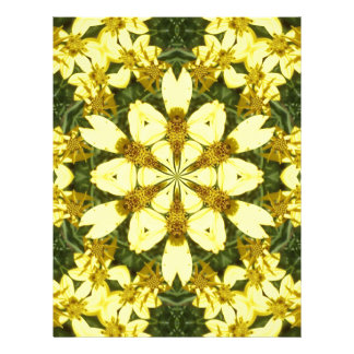 yellow floral abstract design daisies letterhead