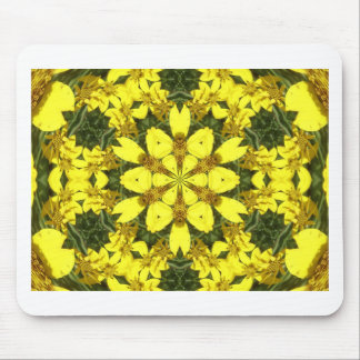 yellow floral abstract design daisies mouse pad