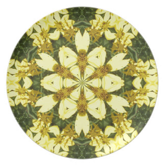 yellow floral abstract design daisies plate