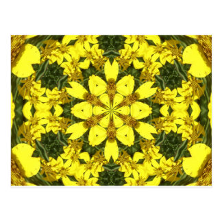 yellow floral abstract design daisies postcard