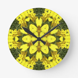 yellow floral abstract design daisies round clock