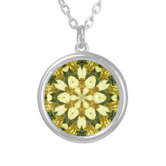 yellow floral abstract design daisies silver plated necklace