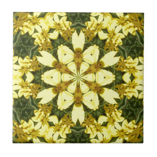 yellow floral abstract design daisies tile