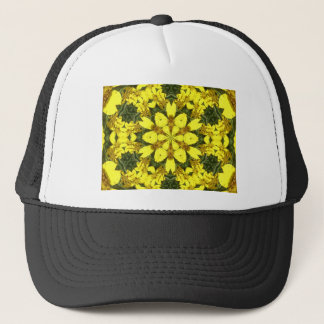 yellow floral abstract design daisies trucker hat