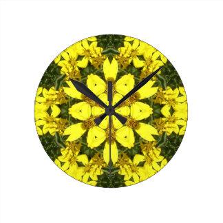 yellow floral abstract design daisies wallclocks