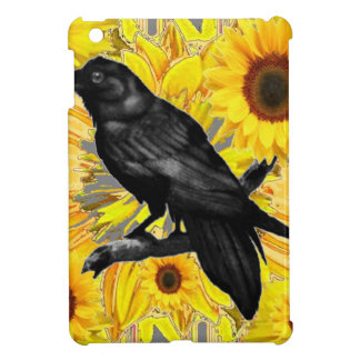 yellow floral  black crow & sunflowers art cover for the iPad mini
